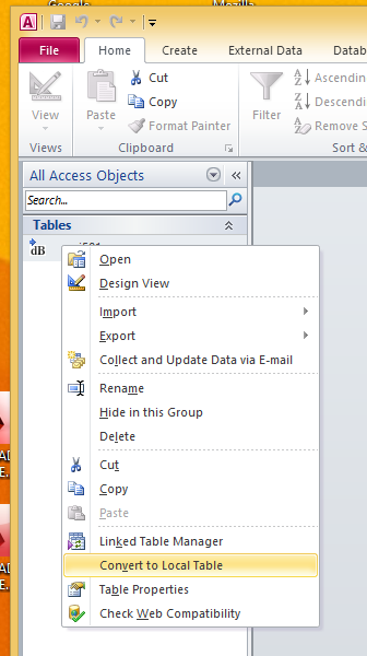 Convert to Local Table in Context Menu for linked table
