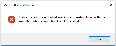 Microsoft Windows Visual Studio 2017 missing dotnet.exe problem